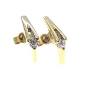bicolor gouden oorstekers zirconia