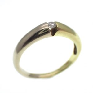 bicolor gouden ring solitair diamant