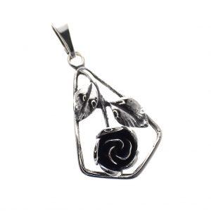 zilveren hanger roos
