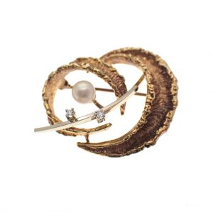 gouden fantasie broche parel en diamant