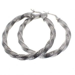 zilveren wokkel creolen meander