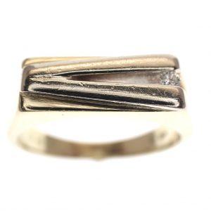 bicolor gouden heren ring met diamant