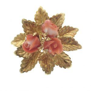 vintage gouden broche bloedkoraal rozen, camee bloem