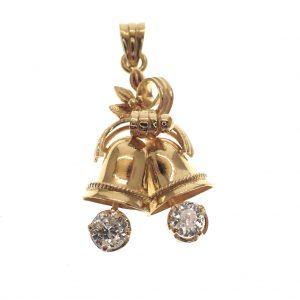 gouden hanger kerstklokjes met diamanten