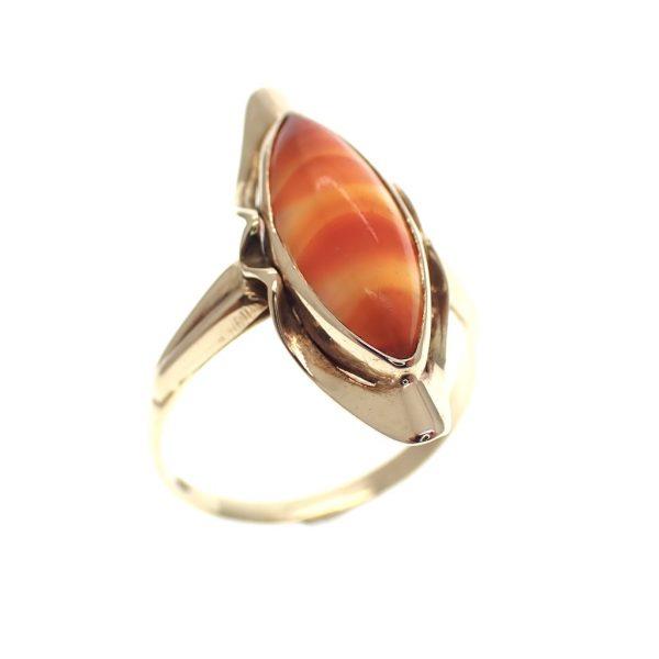 vintage gouden ring met agaat
