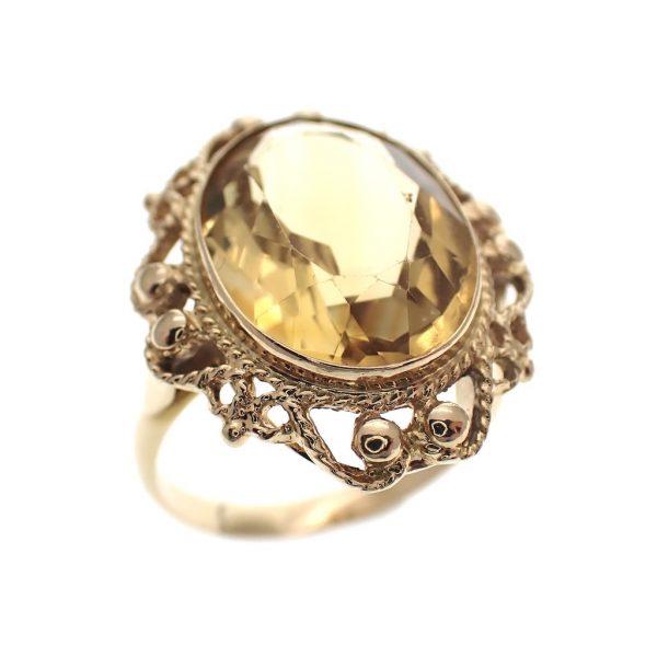 gouden vintage ring citrien