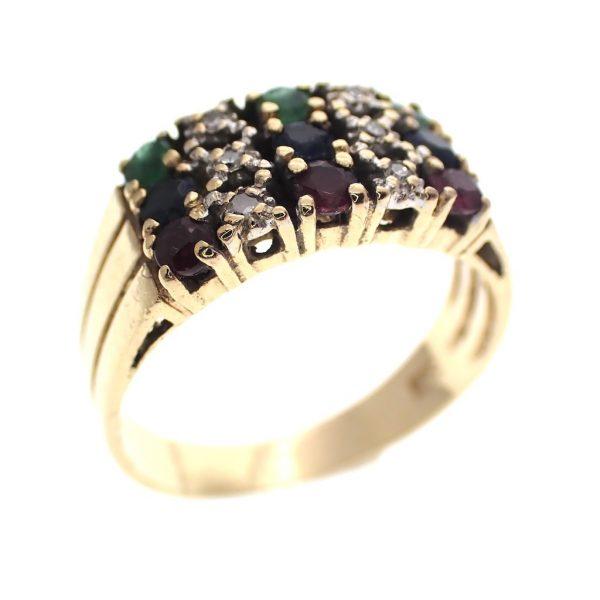 gouden cluster ring diamant robijn saffier smaragd