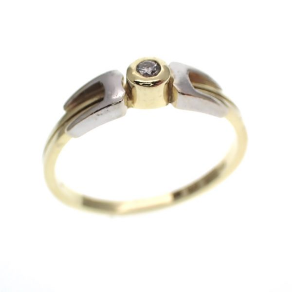 Bicolor gouden solitair ring diamant