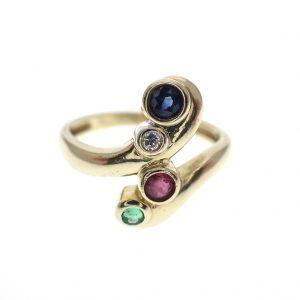 gouden fantasie ring diamant robijn smaragd saffier