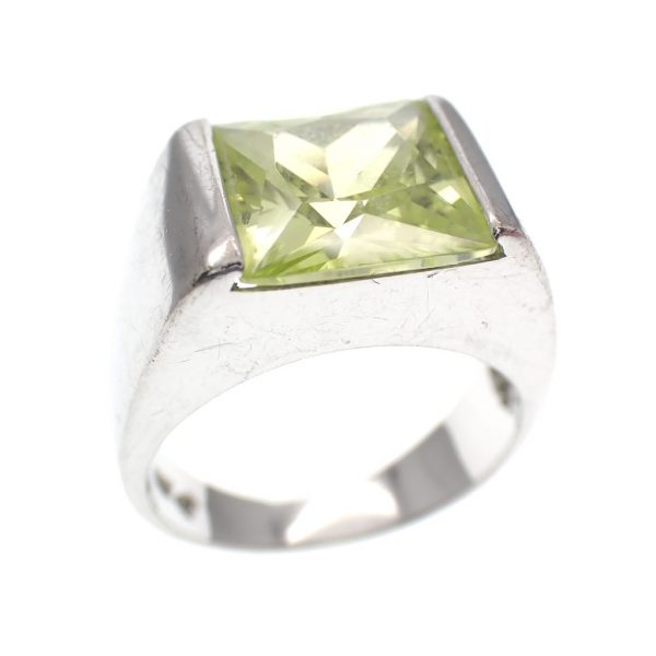 zilveren brede ring groene zirconia