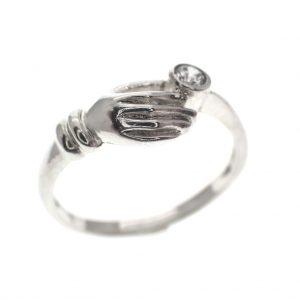 zilveren ring met hand zirconia