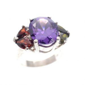 Zilveren cluster ring kleuren stenen