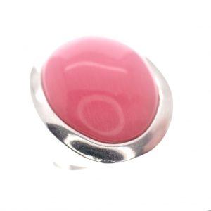 zilveren ring grote roze steen
