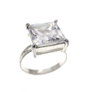 zilveren solitair ring met zirconia