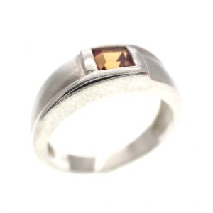 zilveren matte ring oranje steen