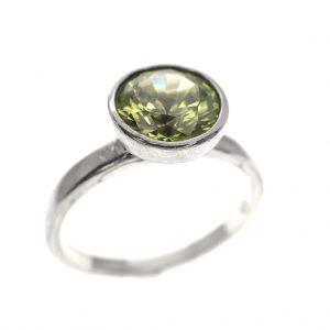 zilveren ring groene zirconia