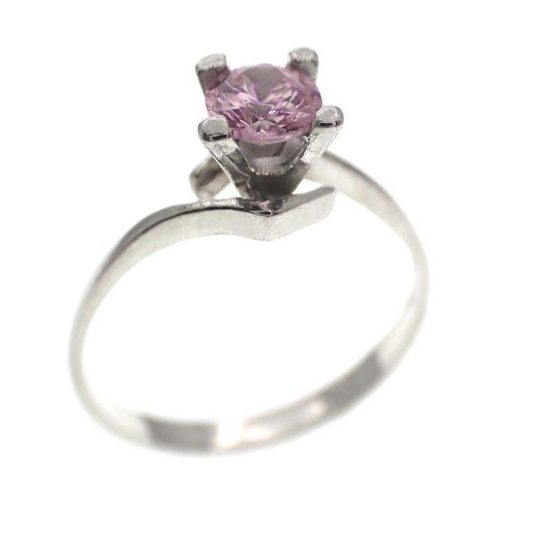 zilveren solitair ring met roze steen