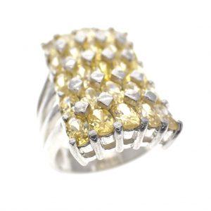 zilveren ring gele zirconia pave