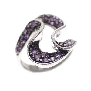 zilveren ring paarse amethist