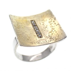 zilveren design ring verguld