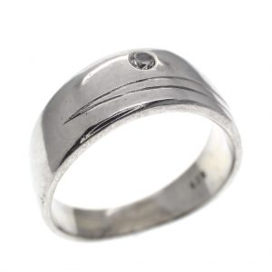 zilveren brede ring met zirzonia