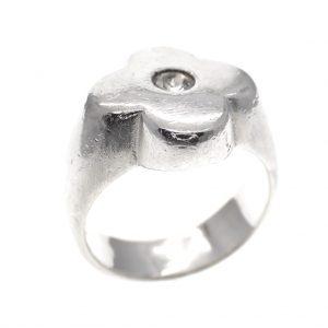 zilveren ring bloem zirconia