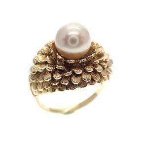 gouden ring parel floraal veren vintage
