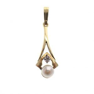 gouden hanger parel diamant