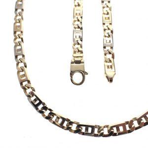 bicolor gouden massieve ketting