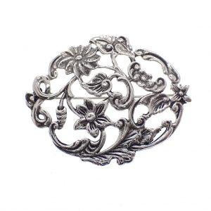 zilveren gebloemde broche Jugendstil