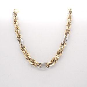 bicolor gouden dubbele schakel ketting