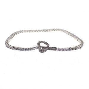 zilveren armband zirconia hartje Mabina