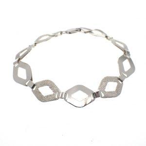 zilveren armband ruitjes schakel gediamanteerd