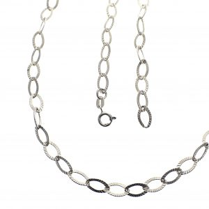zilveren geribde ankerschakel ketting