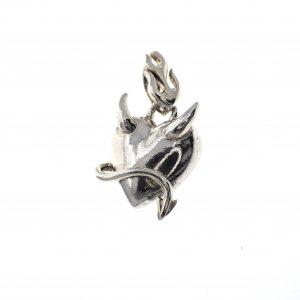 duivels hartje hanger zilver