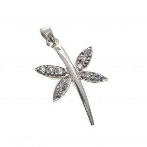 zilveren hanger libelle zirconia