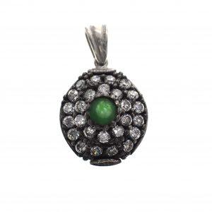 zilveren hanger jade zirconia