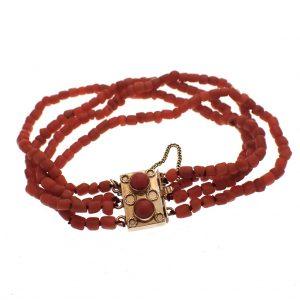 vintage gouden armband bloedkoraal kralen