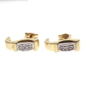 bicolor gouden oorstekers met diamanten