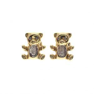 gouden oorstekers beertjes diamant