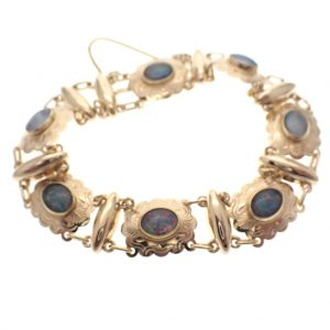 gouden armband vintage triplet opaal