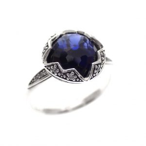 zilveren ring Thomas Sabo blauwe steen vintage look