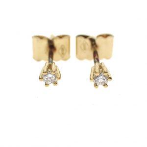 gouden oorstekers diamant 0,10 ct