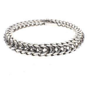 Zilveren franse gourmet schakel armband