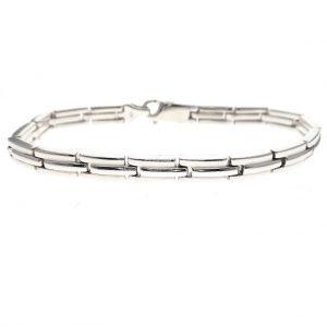 zilveren blokjes schakel armband