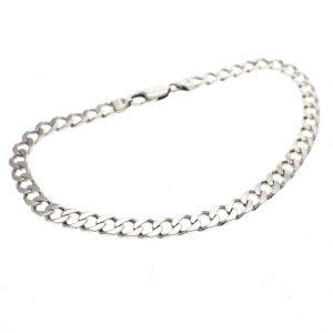 zilveren platte gourmet schakel armband