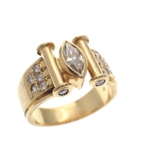 gouden brede ring vol diamanten vintage Elvis