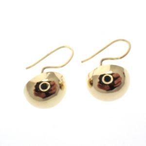 vintage gouden oorbellen ronde knop