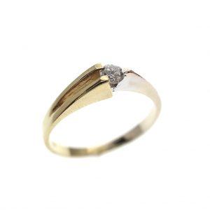 bicolor gouden solitair ring diamant 1 ct