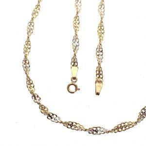 gouden gedraaide platte schakel ketting bicolor